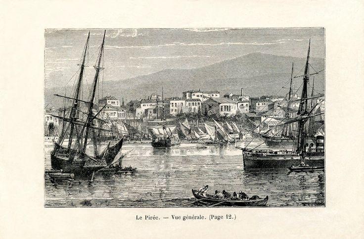 Λιθογραφία του Πειραιά, 1881. / A lithograph of the port of Piraeus dated 1881.