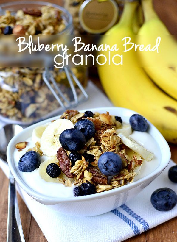 Blueberry Banana Bread Granola is a lightly-sweetened, gluten-free granola that has the unmistakable taste of banana bread, and is out of the world good! | iowagirleats.com