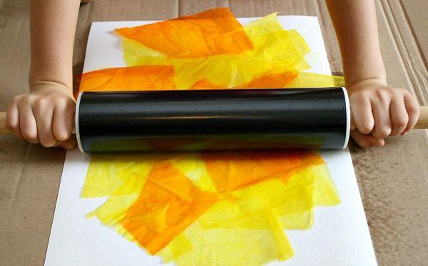 Rolling Pin Bleeding Tissue Art...less mess for little ones who don't enjoy messy art