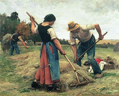 Painting Title: Haymaking, 1880 | Artist: Julien Dupre (1851-1910) | Medium: Fine Art Painting Reproduction by TOPofART.com