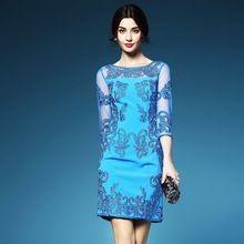 Luxo elegante bordado vestido 2016 primavera alta qualidade europa roupas femininas XXL XXXL tamanho vestido de verão elegante vestidos retro(China (Mainland))