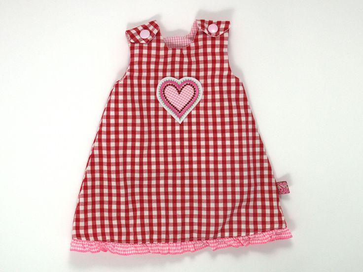 Puppenkleid Herz rot kariert von JaClar auf DaWanda.com