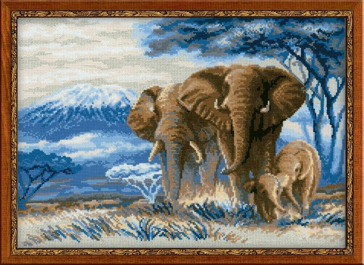 Elephants in the Savannah by Riolis, counted cross stitch kit