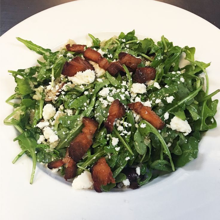 Appalachian Brewing Co.  ARUGULA & QUINOA SALAD Fresh arugula and chilled quinoa tossed with Hoppy Poppy Vinaigrette, sliced crimini mushrooms, crispy fired pork belly and queso fresco…10 #ABCBrewPub #Arugula #healthyeating #quinuoa #salad