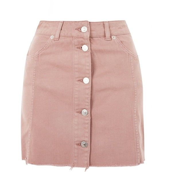 Topshop Moto Button Up Denim Mini Skirt (1.135 UYU) ❤ liked on Polyvore featuring skirts, mini skirts, topshop, saias, dusty pink, denim skirts, topshop skirts, pink denim skirt, short denim skirts and denim miniskirt