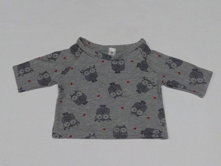Sudadera o jersey gris de algodón con estampado de Búhos, ropa de bebé hecha a mano de Amanitajc en Etsy