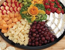 $79.99 deluxe fruit and cheese tray from Giant grocery store (serves 20-25)