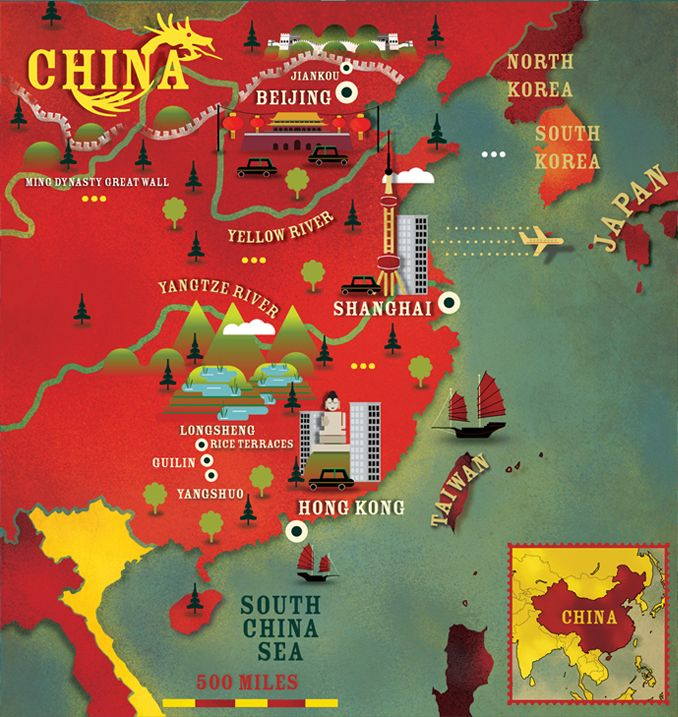 China map by cartographic.com (Alexandre Verhille) for Lonely planet magazine