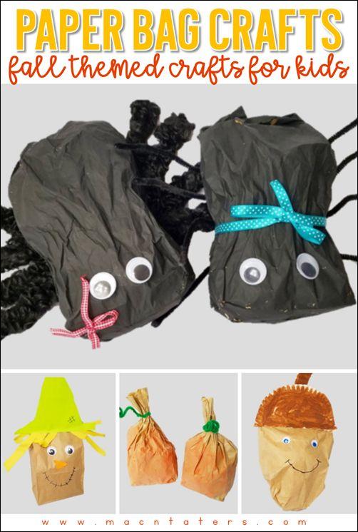 Fall Themed Paper Bag Crafts for Kids: SPider Craft, Scarecrow Craft, Pumpkin Craft, Acorn Craft