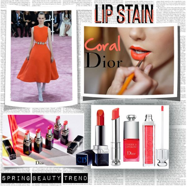 Lip Stain Coral Dior by stylepersonal on Polyvore featuring polyvore, beauty, Christian Dior and lipstain