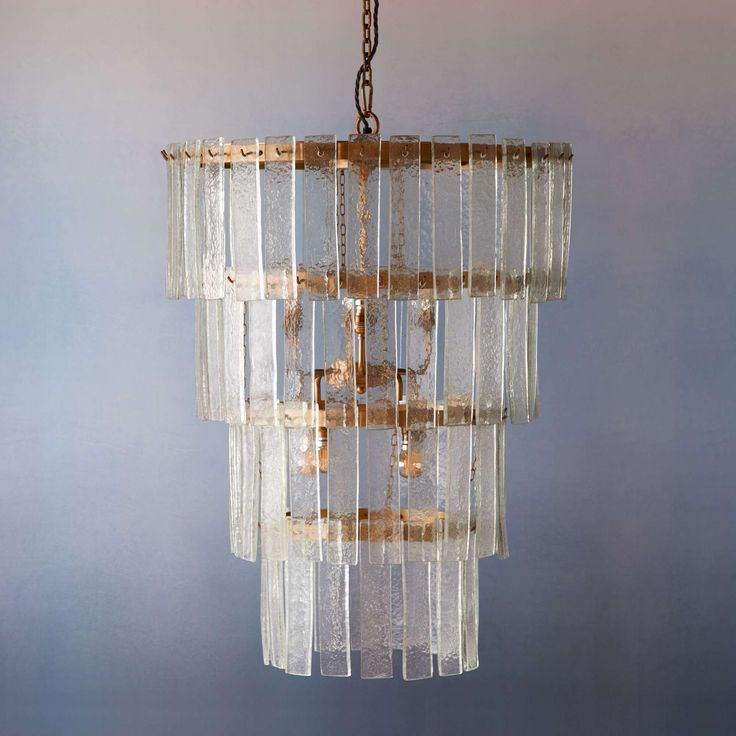 Orb chandelier with clear recycled blown glass roundels