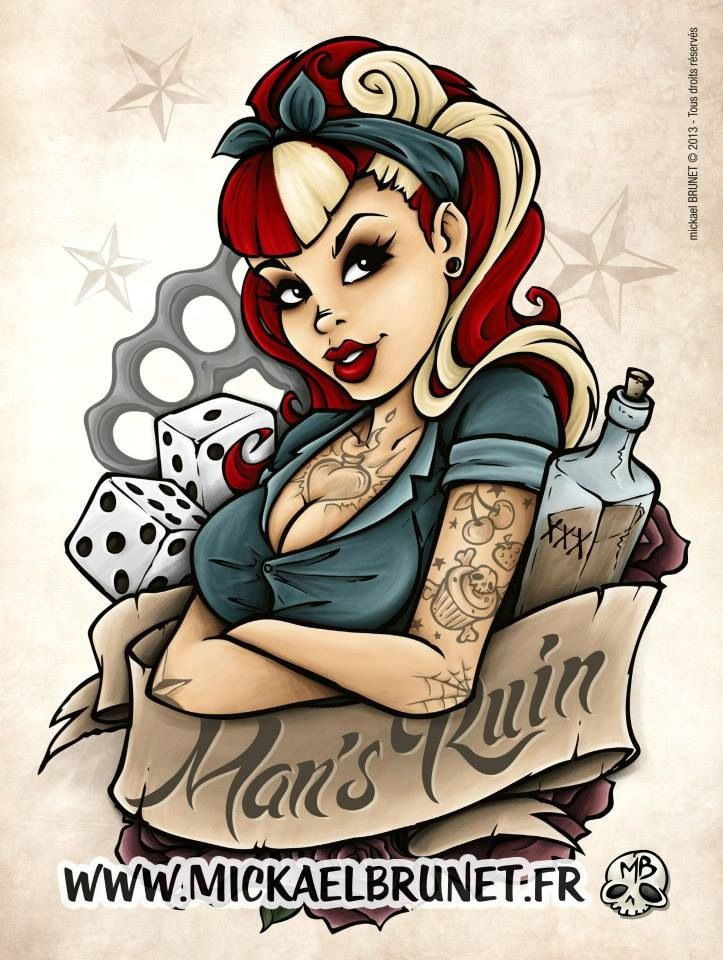 love this pin up cluster style for thigh tattoo - something like this with Jean Grey / Phoenix , flames etc