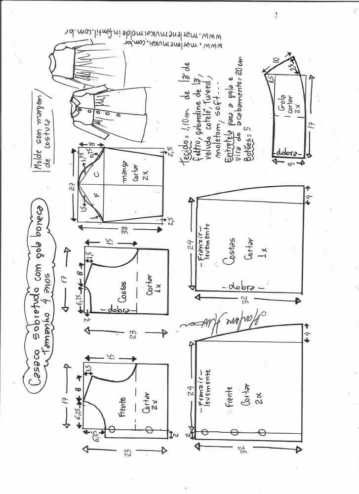 Patrón Abrigo Para Niña Patrones Gratis Kids Clothes Patterns Girls Dress Sewing Patterns Baby Dress Patterns
