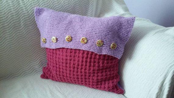 Handknitted bicolor pillow / handmade /ready by KaterinakiJewelry