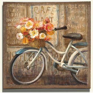 Obraz na plátně - bílý bicykl s košíkem květů