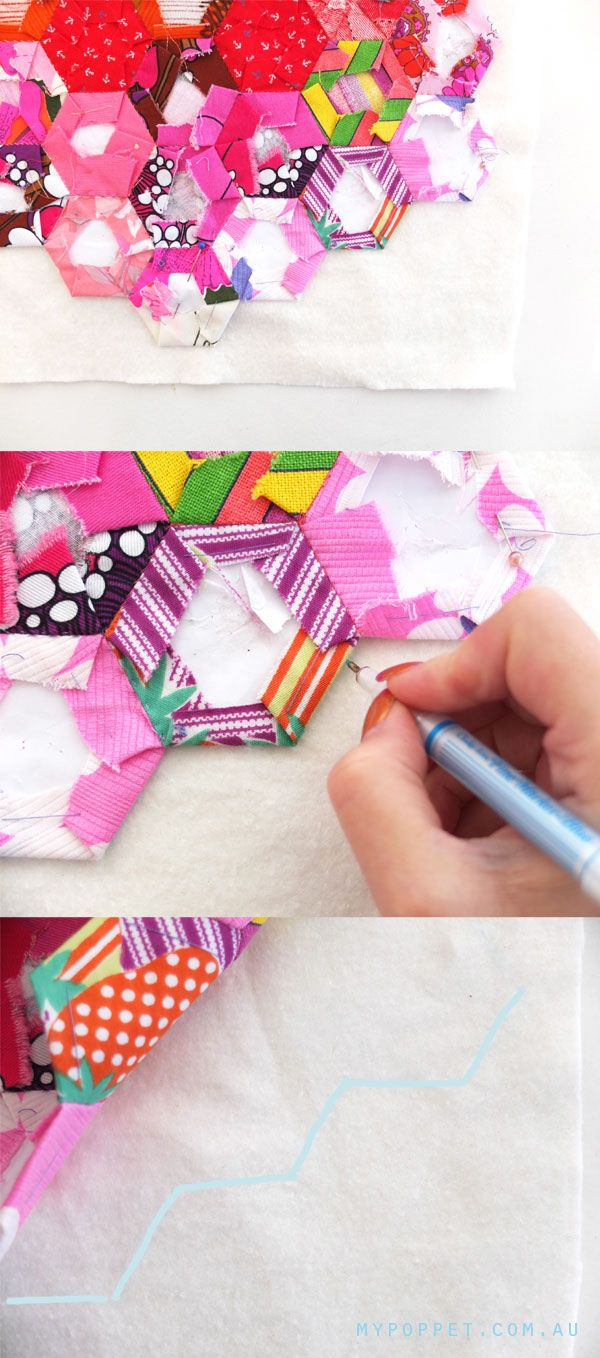 I like this tutorial on a pillow case method to finish a hexie quilt!