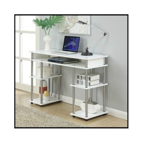 White-Computer-Desk-Table-Wood-Furniture-Home-Office-Workstation-Modern-Storage