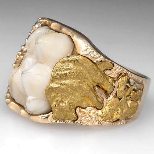 Vintage Mens Natural Bear Tooth Ring W Diamonds Solid 14k