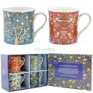 William Morris set of 4 fine bone china mugs.
