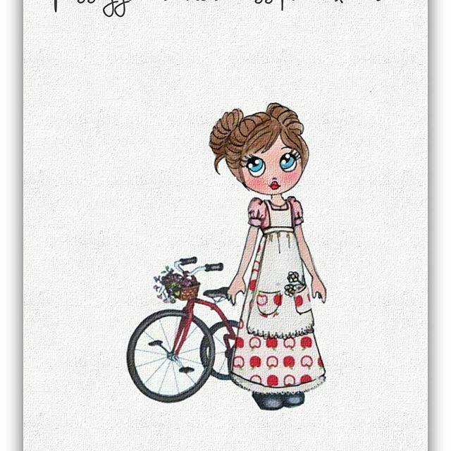 – La vita è come andare in bicicletta. Per mantenere l'equilibrio devi muoverti. (Albert Einstein)  Una buona settimana a tutti voi 🍎🍎🍎  #country #romanticamente #melindadolls #melindadiary #melinda #fattoconilcuore #illustration #handmadedoll #creative #artist #goodmorning #buongiorno #bici #solocosebelle #istantidigioia #hollyhobbie #dollstagram #doll #paper #card