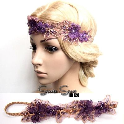 Celeb Purple Flower Lace Hair Band Headband Wedding Racing Fascinator Headpiece