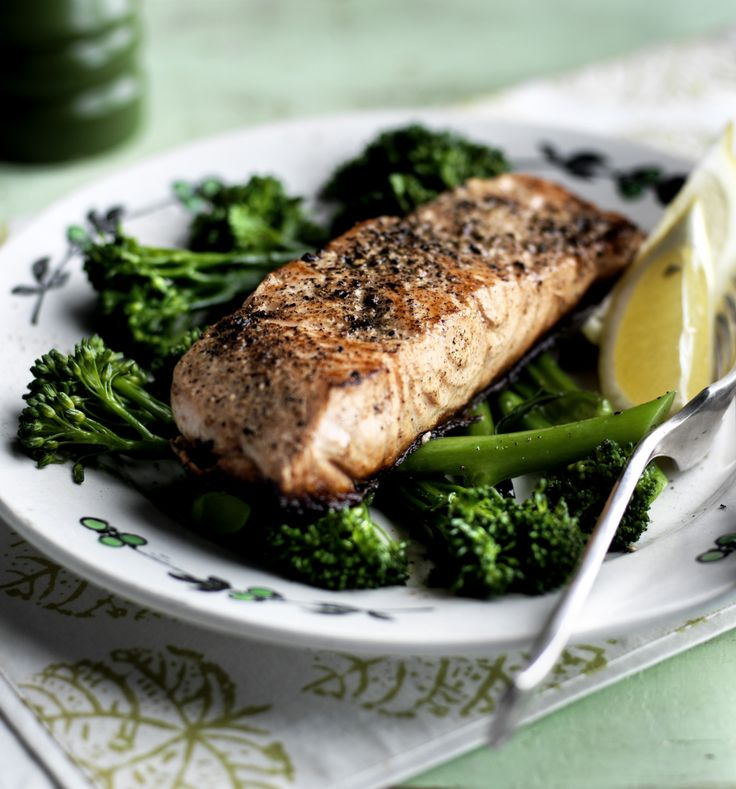 Get a healthy dinner on the table in 10 minutes with this simple salmon and broccoli dish with zesty lemon