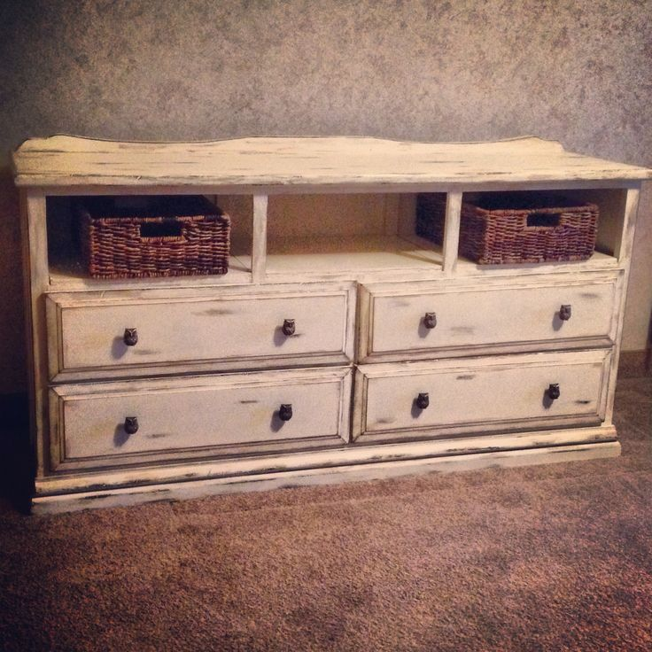 Painted and distressed dresser as a tv stand