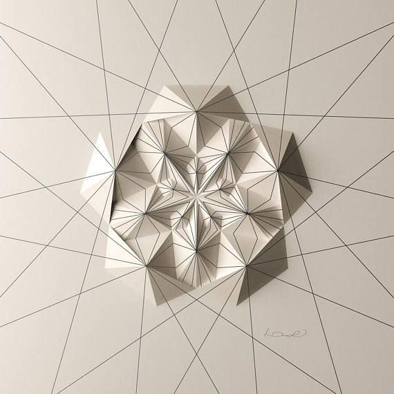 Radial ornamental line drawing on a 5-fold relief, let you head spin DRAW-6EC5