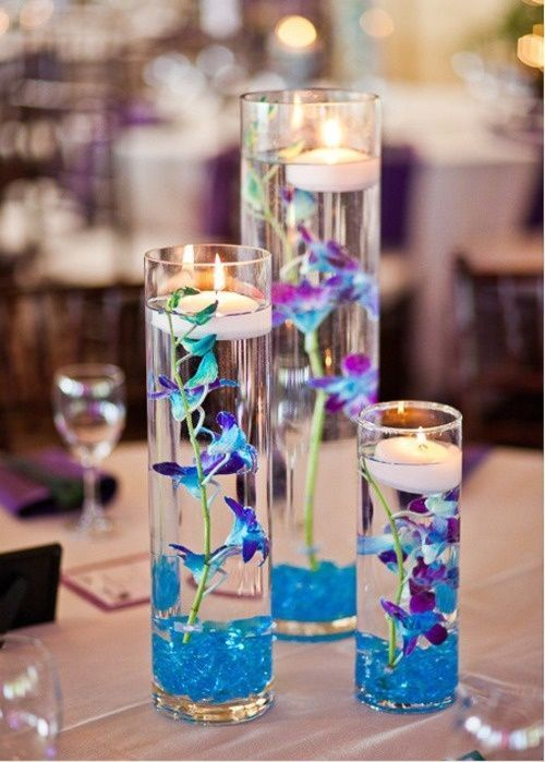 blue and purple wedding centerpieces | Centerpiece Options - Light Blue/Purple With Floating candles: