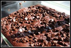 Chocolate Pudding Dump Cake - 4 ingredients!  I've made this many times but called them brownies and mixed the chocolate chips right into the batter.  Either way- very good and super easy!!