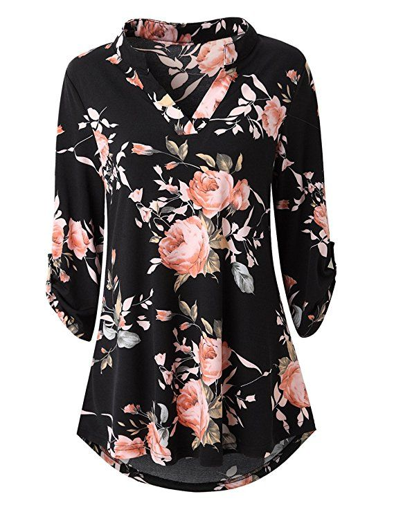 a2a0008f8d6 Zattcas Womens Floral Printed Tunic Shirts 3/4 Roll Sleeve Notch ...