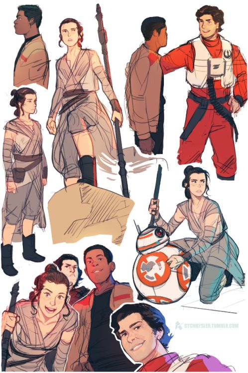 ctchrysler:  More TFA sketches (Poe's face is too good for me)   Rey's face in the bottom left is *perfect*