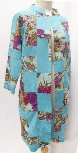 Long Patchwork Mandarin Collar Cotton Jacket Turquoise Large Preity Nayyar. $49.00