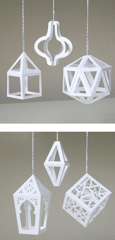 3D Paper Ornaments by Patricia Zapata (SVG + DXF + PDF files)