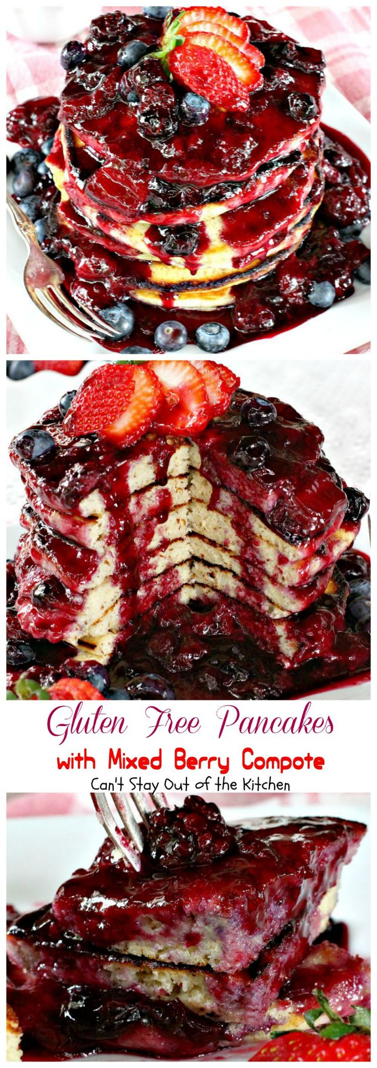Gluten Free Pancakes with Mixed Berry Compote | Can't Stay Out of the Kitchen