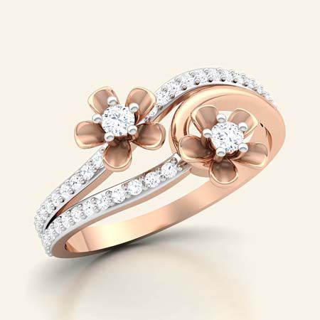 Blossoming lower diamond ring