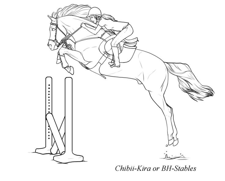 Lovely Horse Jumping Coloring Pages 17 Free powerful horse jumping