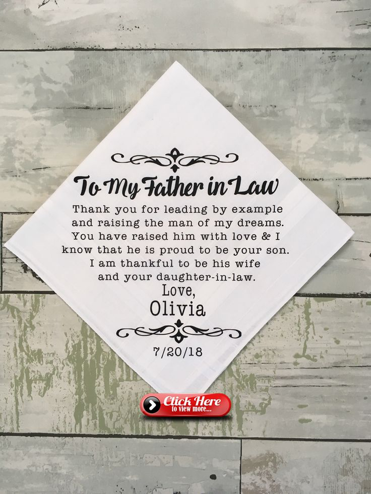 Father In Law Wedding Present Father Of The Groom Gift Customized Wedding Day Handkerchief Gift From Br Father Of Groom Gift Wedding Gifts For Groom Groom Gift