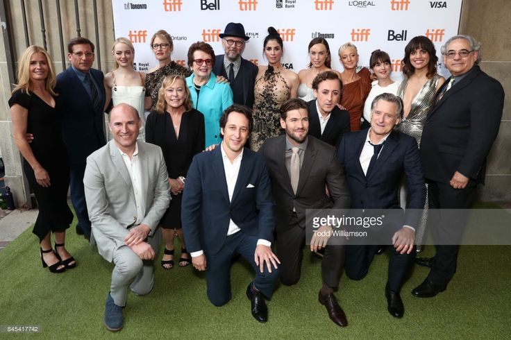 Elisabeth Shue, Steve Carell, Matthew Greenfield, Emma Stone, Valerie Faris, Nancy Utley, Billie Jean King, Jonathan Dayton, David Greenbaum, Sarah Silverman, Austin Stowell, Jessica McNamee, Alan Cumming, Andrea Riseborough, Martha MacIsaac, Bill Pullman, Natalie Morales, and Stephen Gilula attends the 'Battle of the Sexes' TIFF screening on September 10, 2017 in Toronto, Canada.