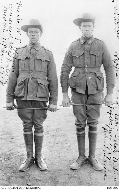 WWI, Two brothers, Pt William T Wiggins (left) and Pt Richard S Wiggins both of the 12th Battalion from Dunally, Tasmania. Richard died from pneumonia on 5 July 1916, Egypt. William saw action in France and was awarded the Military Medal for conspicuous gallantry as a stretcher bearer in the attack on Polygon Wood. He survived the war.