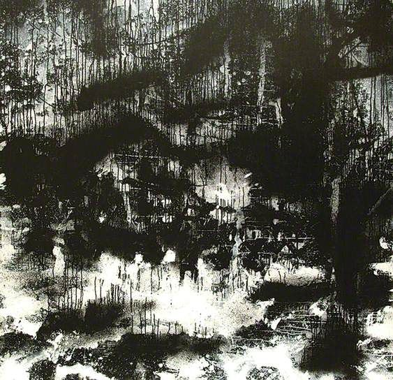 Landscape No.268  John Virtue    Virtue uses only black and white on his work as he sees colour as unnecessary distraction He uses shellac black ink and white paint.