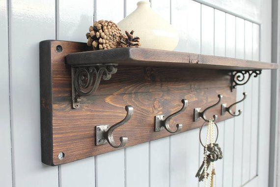 This Gorgeous Rustic Coat Hook Shelf Is Individually Handmade From Reclaimed Wood A Great Way To Organise Yo Wooden Coat Rack Coat Hook Shelf Diy Wood Shelves