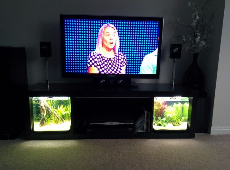 tv stand tropical fish slide out aquarium led lighting. Black Bedroom Furniture Sets. Home Design Ideas