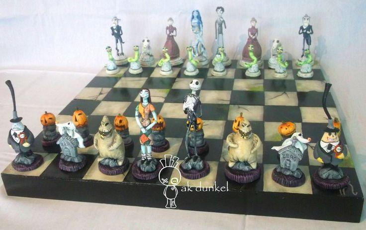 Nightmare before Christmas vs. Corpse bride Chess by Aketzalidunkel.deviantart.com on @DeviantArt