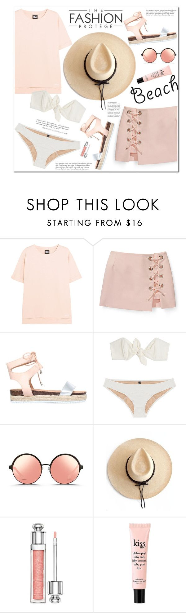 """No 398:The Beach"" by lovepastel on Polyvore featuring Ivy Park, Rebecca Minkoff, Miss KG, Lisa Marie Fernandez, Matthew Williamson, Ryan Roche, Christian Dior, philosophy, beach and summerdate"