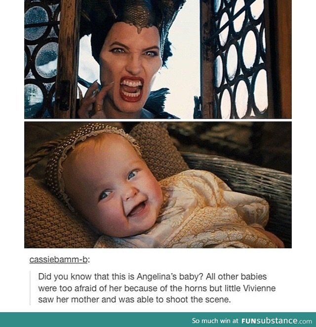 Actually, this baby wasn't Angelina's; when Maleficant picks up Aurora, that's Angelina's daughter Vivienne. But it is true that all the other little kids were scared of Angelina.