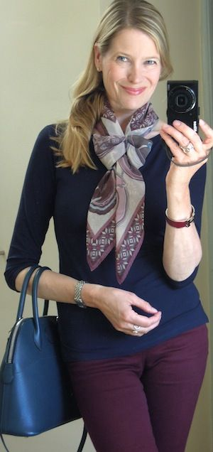 Capsule pieces: bordeaux jeans and 3/4 sleeve slash neck t-shirt  in navy ( Kettlewell Colours)   Shoes: blue patent leathe...