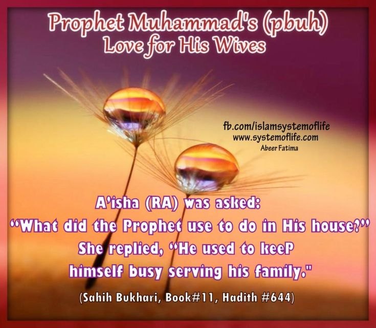 """By looking at the biography of the Prophet Muhammad (PBUH), you will find that the Messenger of humanity, (PBUH), appreciated women (wives), and gave them intensive care and proper love.  Assisting Her in The Housework:   Narrated Al-Aswad: That he asked 'Aisha """"What did the Prophet use to do in his house?"""" She replied, """"He used to keep himself busy serving his family and when it was the time for prayer he would go for it.""""   [Sahih Bukhari, Book#11, Hadith #644]"""