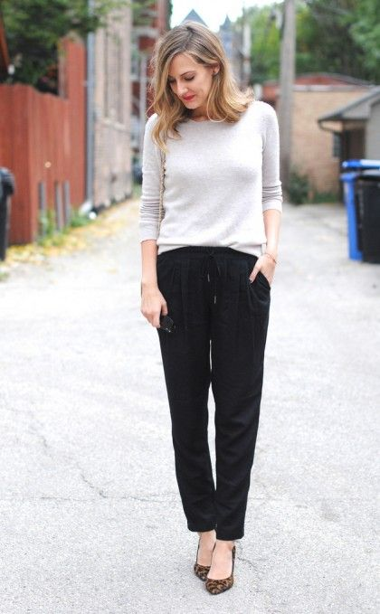 fall outfit ideas: slouchy pants, simple sweater