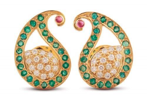 Ahiri Emerald and Diamond Paisley Ear Stud